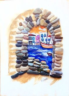 Photo from fuskoo. Scene from stone window! Pebble Painting, Pebble Art, Stone Painting, Coral Art, African Paintings, Pebble Pictures, Rock And Pebbles, House On The Rock, Sea Art