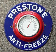Rare vintage 1930's PRESTONE Anti-Freeze porcelain thermometer sign FREE SHIP!