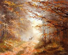 Autumn view Canvas Art - Reint Withaar x Oil Painting Pictures, Pictures To Paint, Art Pictures, Photos, Watercolor Landscape, Landscape Paintings, Tres Belle Photo, Art Folder, Autumn Forest