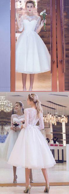 Short Wedding Dresses Lace, 2018 Wedding Dresses With 1/2 Sleeve, Pretty A-line Wedding Dresses Scoop Neck, Tulle Wedding Dresses Tea-length Appliques