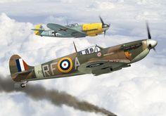 Supermarine Spitfire Mk II, 303 (Polish) Sqn RAF, spring 1941. Fighter Aircraft, Fighter Jets, Supermarine Spitfire, Aviation Art, World War Ii, Painting & Drawing, Wwii, Digital Art, Gallery