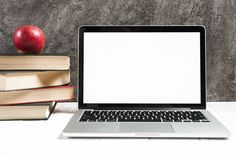 Red apple on the stacked of books near the laptop on white desk against concrete wall Free Photo - BestGrap Background Images Wallpapers, Food Backgrounds, Page Borders Design, Ppt Design, Graphic Design, School Days Images, Traditional Italian Pizza, White Wooden Floor, Healthy And Unhealthy Food
