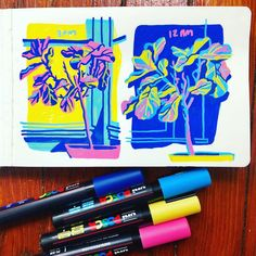 Celebrate spring with bright colors! Sarah Robbins of uses Uni-Posca Paint Markers to create her vivid illustrations. Marker Kunst, Posca Marker, Marker Art, Art And Illustration, Art Sketches, Art Drawings, Posca Art, Arte Sketchbook, Guache