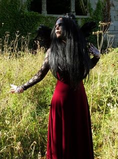 Moonshadow Juliette Dress - long steamed velvet and lace dress by  Moonmaiden Gothic Clothing UK