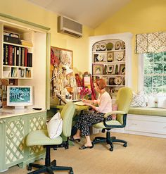 Simple Steps to a Healthier Home Office  A Back-Friendly Seat    Proper Seating  Look for a chair with lower-back support and adjustable height and arm rests so you can sit up straight with your knees level. And lean back now and then: New research says it's good for you.