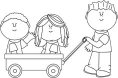 Black and White Kids with Wagon Clip Art - Black and White Kids with Wagon Image