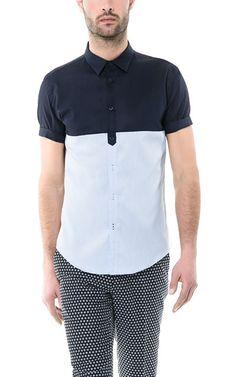 Color block shirt by Zara Mens Fashion Wear, Denim Fashion, Shirt Logo Design, Shirt Designs, Mens Designer Shirts, Half Shirts, Men's Wardrobe, Zara, Shirt Outfit