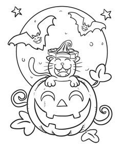Cat Coloring Page Featuring a kitty popping out of a grinning jack o' lantern, this Halloween scene is definitely more cute than scary.Featuring a kitty popping out of a grinning jack o' lantern, this Halloween scene is definitely more cute than scary. Cute Halloween Coloring Pages, Halloween Coloring Pictures, Fall Coloring Pages, Cat Coloring Page, Halloween Drawings, Coloring Pages For Kids, Kids Coloring, Halloween Pictures, Coloring Books
