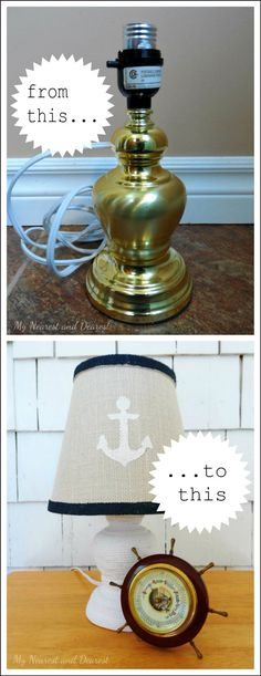 Cute lamp makeover with paint and nautical anchor lampshade.