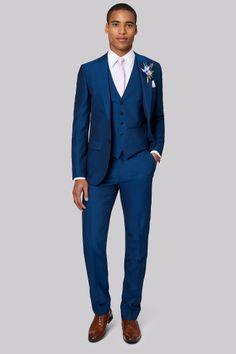 mens suits fashion show Bright Navy Blue Suit, Blue Suit Men, Blue Tuxedo Wedding, French Blue Wedding, Blue Mens Suit Wedding, Wedding Suit Hire, Wedding Men, Wedding Tuxedos, Wedding Ideas
