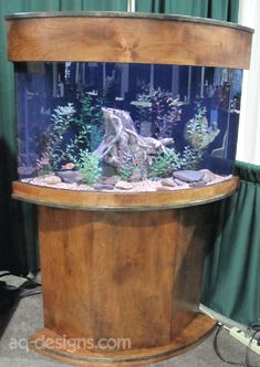 54 gallon Corner Aquarium with a custom built stand.  Our first attempt to build a curved stand and canopy.