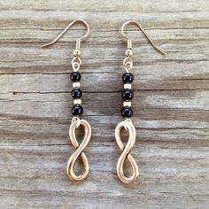 Infinity Dangle Earrings with Black & Silver Beads on Etsy, $10.00