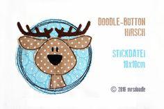 Stickmuster - ★Stickdatei Hirsch★ Doodle-Button 10x10cm - ein Designerstück von MrsDoodle bei DaWanda