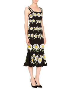 Dolce & Gabbana Daisy-Print Flounce-Hem Dress, Black/White/Green