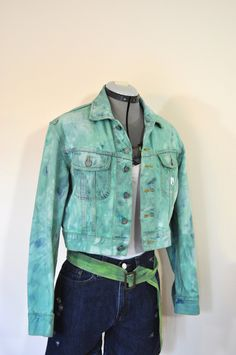 be54d186486 Teal Small Denim JACKET - Aqua Turquoise Dyed Upcycled Calvin Klein Cropped  Denim Trucker Jacket - Adult Womens Size Small (40