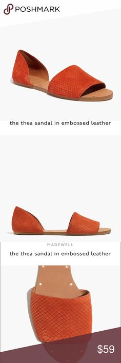 """Madewell the Thea sandal in embossed leather With its pared-down shape and python-textured leather, this is the slip-on sandal you'll want to wear again and again (and again). As a nod to traditional shoemaking techniques, our designers left the nailheads visible on the soles. When you select your size, """"H"""" equals a half size.    Leather upper and lining. 1/4"""" heel. Rubber sole. Import. Item E9348. Madewell Shoes Sandals"""