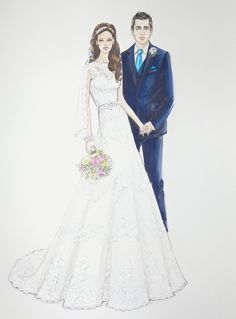 Porfolio of custom wedding dress sketches and illustrations for brides.