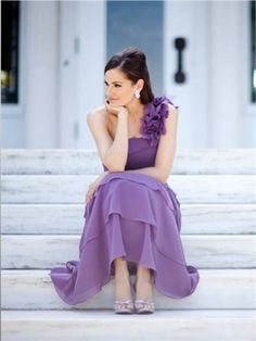Purple One Shoulder Chiffon Mother Of The Bridal Dress
