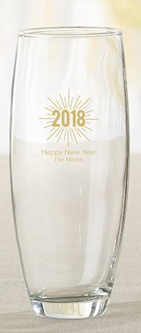 Let guests take home these New Years champagne glass favor at the end of the night for a party favor to show how much you care! | Personalized New Years 9 oz. Stemless Champagne Glass | My Wedding Favors