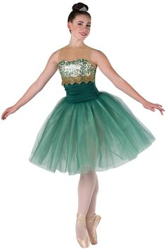 Style# 17348 EMERALDS Hunter spandex leotard with gold glitter mesh yoke, ivory spandex insert and mint/gold sequin on mesh overlay. Attached hunter tulle over mint glimmer chiffon tutu. Lace trim. SC-XXLA A61R/041-Small rhinestone tiara, optional.