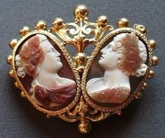 Ariadne (left) and Bacchus Cameo, Cameo Jewelry, Antique Jewelry, Vintage Jewelry, Victorian Jewelry, Art Nouveau, Art Carved, Lost Art, Portraits, Sculpture