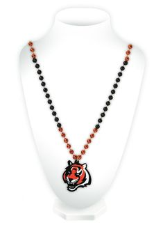 Cincinnati Bengals Beads with Medallion Mardi Gras Style Special Order