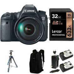 Canon EOS 6D Digital SLR Camera with EF 24-105mm f/4L IS USM Lens, 32GB Memory Card, Extra Battery, Bag and Manfrotto Tripod >>> Want to know more, click on the image.