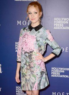 Katherine McNamara in Ted's JACEN dress.