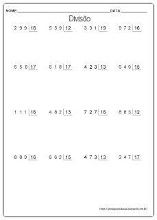 Pedagogas da paz: Atividades Divisão Com Dois Algarismos 5º Ano- Folha Com Continhas Para Imprimir English Primary School, Homeschool Math, Math For Kids, How To Plan, Education, Gabriel, Professor, Multiplication Activities, Math Notebooks