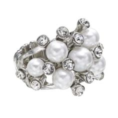 Simply+Vera+Vera+Wang+Silver+Tone+Simulated+Pearl+&+Simulated+Crystal+Cluster+Stretch+Ring