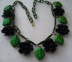 Vintage celluloid black roses & hand painted early plastic leaves necklace chain