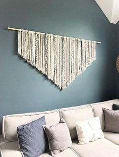 Extra Large Macrame wall hanging // behind couch decor // Boho decor diy wall hanging Extra Large Macrame wall hanging // dorm decor // Boho decor // wall art // large wall decor // yarn wall hanging // over bed decor Large Macrame Wall Hanging, Yarn Wall Hanging, Hanging Storage, Yarn Wall Art, Hanging Beds, Hanging Chairs, Diy Home Decor Rustic, Diy Wall Decor, Decor Room