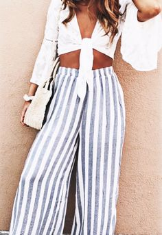 Tie front top + striped pants.