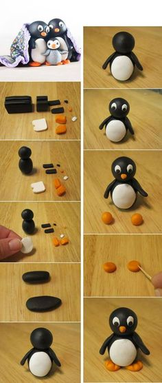 Drawing Hairstyles 135389532537596134 - FIMO DOUBLE PENGUEN – Women – Women DIY – Hairstyles – The idea of ​​making Fimo a cute penguin was an idea that I really liked. After me he The Effec – Source by eleinesiffointe Fondant Figures, Clay Figures, Polymer Clay Miniatures, Polymer Clay Projects, Crea Fimo, Penguin Cakes, Kids Clay, Fondant Animals, Baking Clay