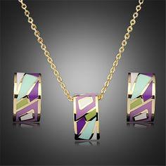 Jewelry sets statement necklace earrings for women jewellery parure bijoux femme indian wedding gold plated set esmaltes enamel