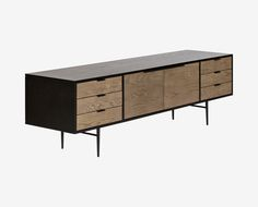 Scandinavian Designs - A two-tone beauty, the Tiden media stand features a combination of black and light grey veneers. With plenty of drawers, a shelf, and two doors, this media cabinet will organize all of your media elements and add style and interest to your room.