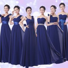 Cheap navy bridesmaid dresses, Buy Quality navy blue bridesmaid dresses directly from China blue bridesmaid dress Suppliers: Navy Blue Bridesmaids Dresses Long Vestidos De Festa Longo Chiffon Navy Bridesmaid Dresses Elegant Girls Junior Bridesmaid dress Royal Blue Bridesmaid Dresses, Designer Bridesmaid Dresses, Wedding Dress Trends, Junior Bridesmaid Dresses, Wedding Party Dresses, Dress Party, Elegant Dresses For Women, Lace Evening Dresses, Marie