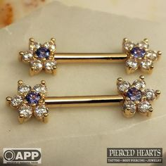 """Pierced Hearts Tattoo Parlor, 12g 9/16"""" yellow gold forward facing barbells with..."""