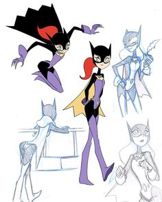Batgirl Animation Art with Catwoman, Harley Quinn, Poison Ivy, and More — GeekTyrant Comic Character, Character Concept, Character Design, Batgirl, Catwoman, Gotham Girls, Gotham Batman, Batman Art, Batman Robin