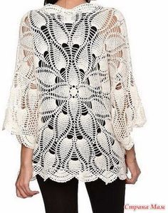crochelinhasagulhas: wit jasje met gehaakte in ananas