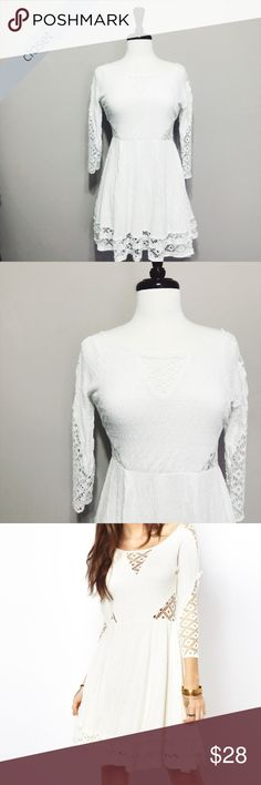 Free People White Southern Belle Dress Free People White Southern Belle Dress condition: GUC (good used condition) color: White fit: True to size -- see length and underarm to underarm measurements in photos!  other: beautiful see through lace portions of the dress accentuate the textures Free People Dresses Mini