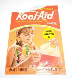 Rare Vintage Kool Aid Orange Sweetened Soft Drink Mix Empty Drink Package 1970's