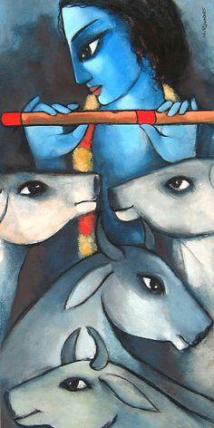 Lord Krishna with his beloved cows Pichwai Paintings, Indian Art Paintings, Ganesha Painting, Madhubani Painting, Painting Art, Indiana, Krishna Art, Lord Krishna, Krishna Leela