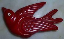 Vintage 1930s Bakelite Rhinestone Carved Cherry Red Art Deco Swallow Bird Brooch