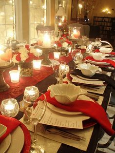 Beautiful Table Set up for Valentine's Dinner