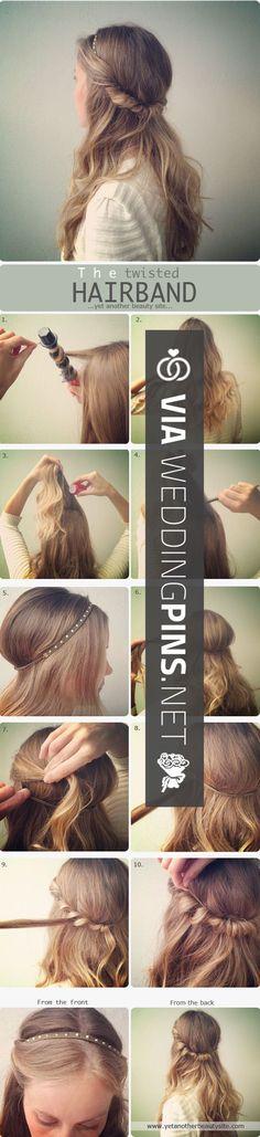 The Twisted Hair Band Hair Tutorial. Down Hairstyles, Pretty Hairstyles, Easy Hairstyles, Wedding Hairstyles, Natural Hairstyles, Hairstyle Ideas, Business Hairstyles, Girl Hairstyles, Perfect Hairstyle