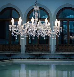 Drylight 12 Light LED Outdoor Chandelier over concrete table Outdoor Ceiling Lights, Outdoor Chandelier, Chandelier Lighting, Outdoor Lighting, Italian Lighting, Luxury Lighting, Modern Lighting, Ceiling Light Fixtures, Pendant Light Fixtures