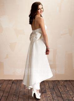 Sheath/Column Sweetheart Asymmetrical Detachable Satin Wedding Dress With Beading Crystal Brooch Sequins Bow(s) (002012842)