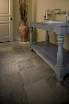 Moss Green brushed slate flooring ~ Palatial Stone & Tile