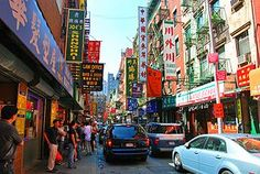 Chinatown, Manhattan (largest concentration in US) - Borders of Chinatown is Grand ST (N), Allen St (E), Worth St (S) and Lafayette St (W);Chinese green-grocers and fishmongers are clustered around Mott Street, Mulberry Street, Canal Street (by Baxter Street), and all along East Broadway (especially by Catherine Street). 200 chinese restaurants in area.  New Thia area near ground zero area to SW. (JEWISH east side to East); Wall St to SE.